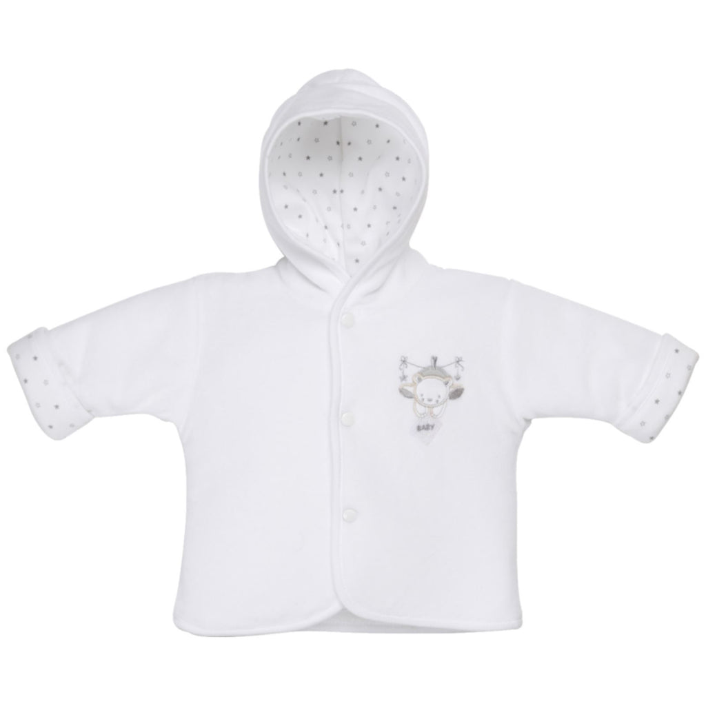 Tiny baby velour coat white - Roo's Online Shop - children's clothes - Mary Jane shoes -