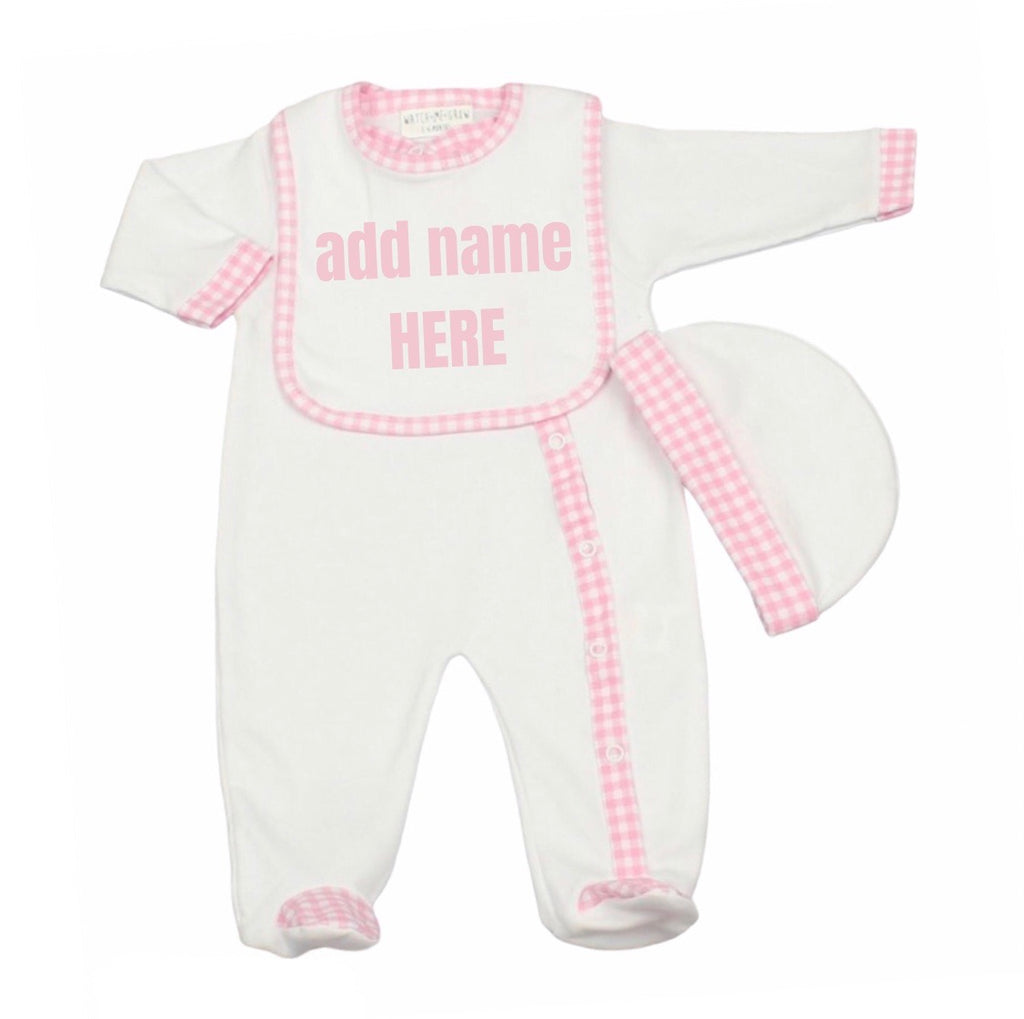 Personalised Baby Girl 3 piece Gift Set Pink