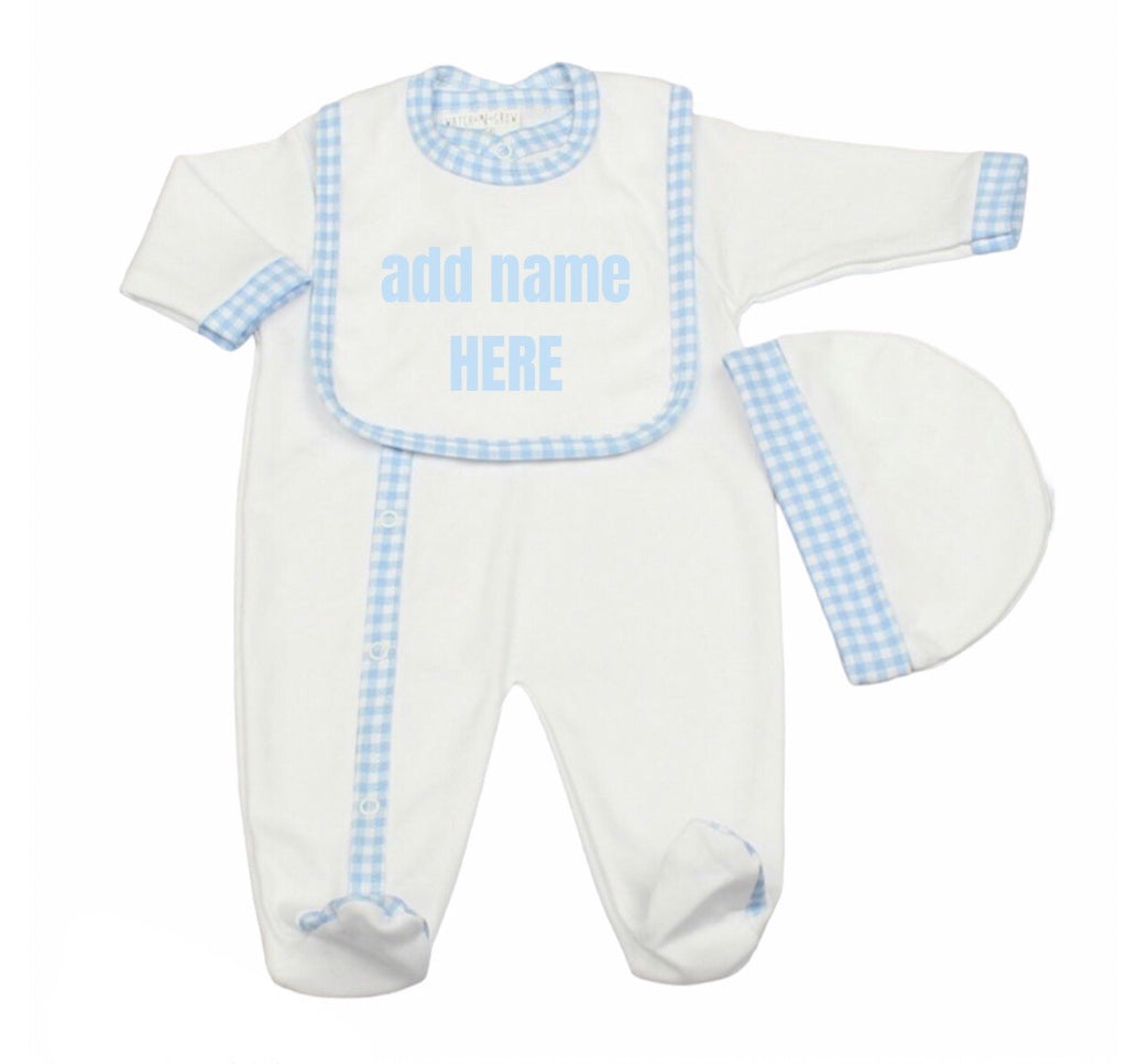 Personalised Baby Boy 3 piece Gift Set Blue