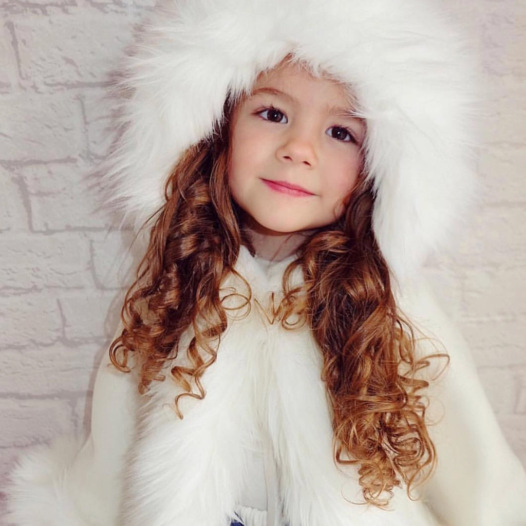 Luxury faux fur cape in WHITE - Roo's Online Shop - children's clothes - Mary Jane shoes -