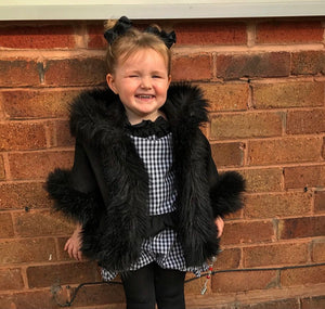 Luxury faux fur cape in BLACK - Roo's Online Shop - children's clothes - Mary Jane shoes -