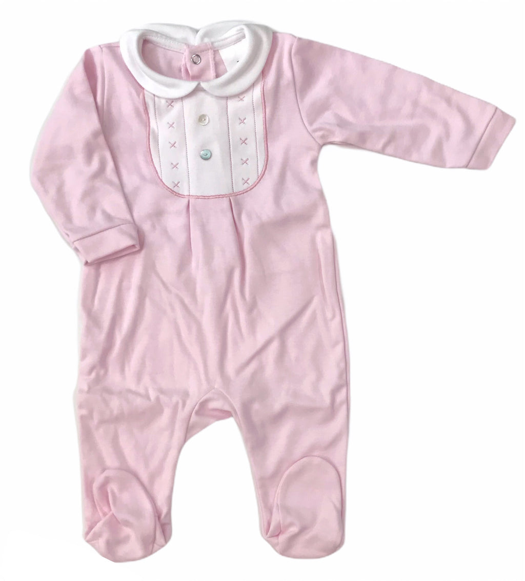 Embroidered bib style baby grow pink - Roo's Online Shop - children's clothes - Mary Jane shoes -
