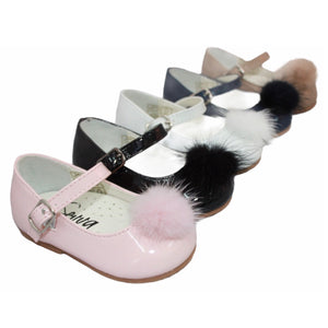 Infant Pom Pom Mary Jane Shoes in Navy - Roo's Online Shop - children's clothes - Mary Jane shoes -