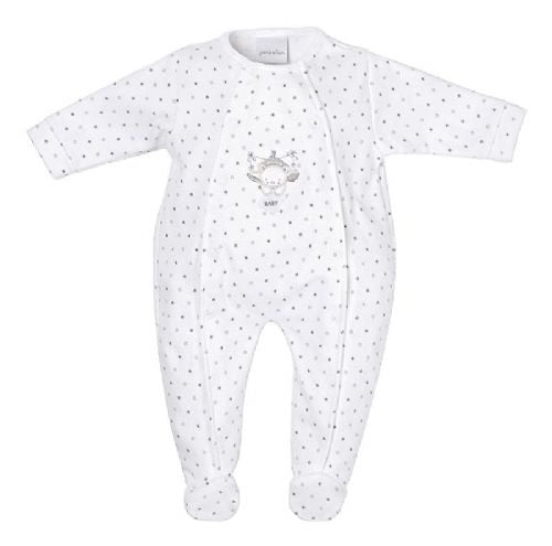 Tiny baby white & grey star babygrow