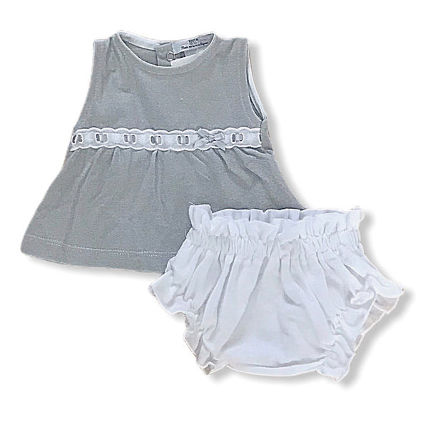 Top and ruffle knickers set grey