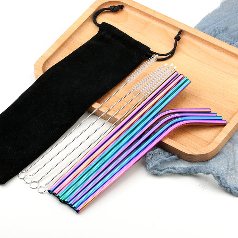 Reusable Stainless Steel Metal Straws (8 Pc.)
