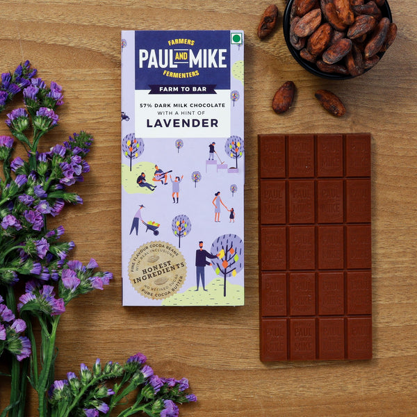 57% DARK MILK CHOCOLATE WITH LAVENDER