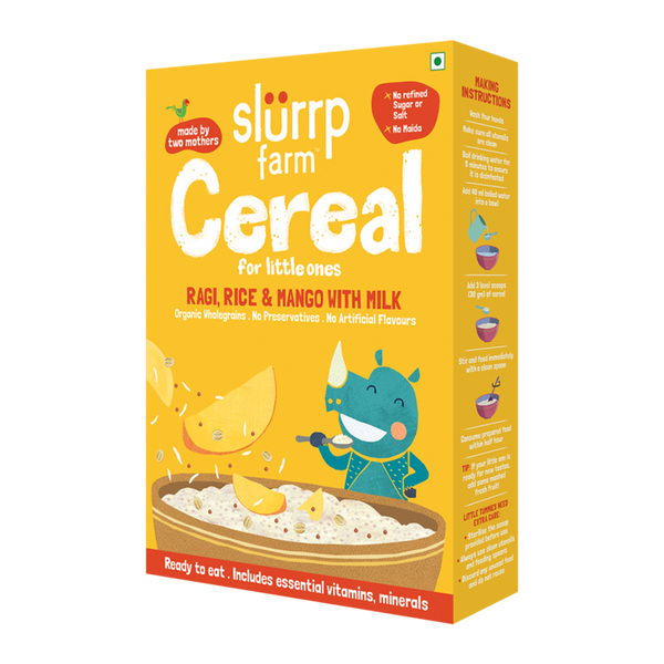 Slurrp Farm Organic Baby Cereal | Ragi, Rice & Mango with Milk
