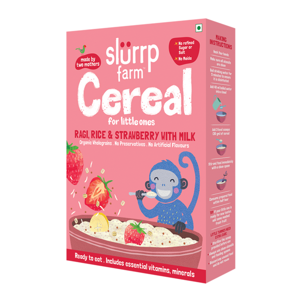 Slurrp Farm Organic Toddler Cereal | Ragi, Rice & Strawberry with Milk