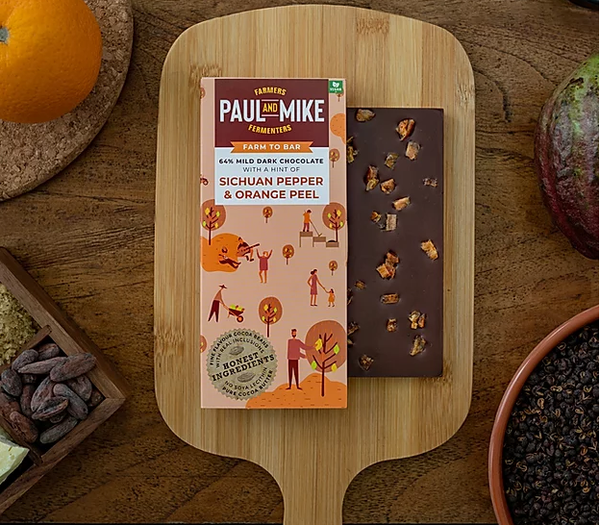 64% Mild Dark Sichuan Pepper and Orange Peel Chocolate