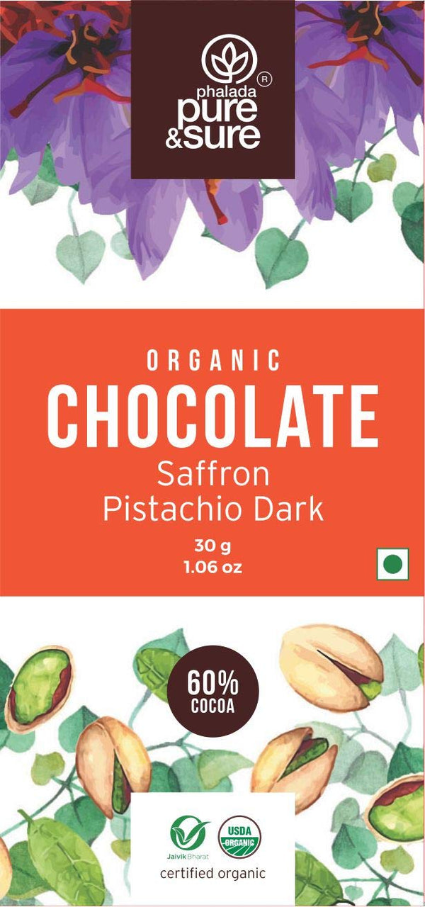Organic Dark Chocolate with Saffron & Pistachio