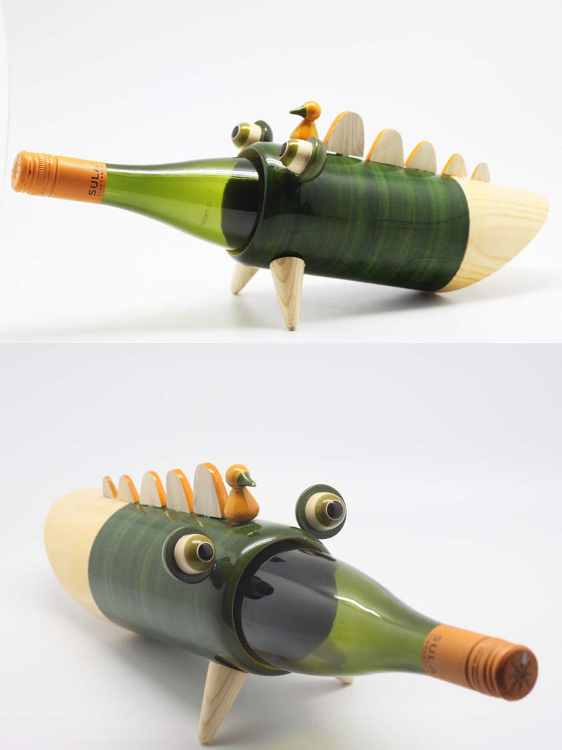 Varnam Craft Collective SNAPPY THE CROC wine bottle holder