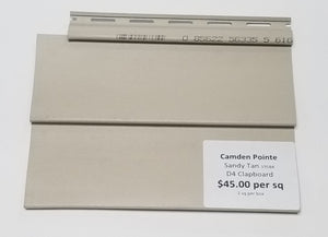 19584 Camden Pointe D4 Straitlap Sandy Tan Vinyl Siding2 sq per carton