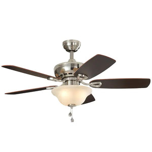 747607 - Harbor Breeze Sage Cove 44-in Satin Nickel Incandescent Indoor Ceiling Fan (5-Blade)
