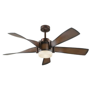 900855 - Kichler 52-in Mediterranean Walnut with Bronze Accents LED Indoor Ceiling Fan with Remote (5-Blade)