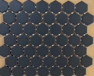 Matte Black Hexagon Mosaic Tile
