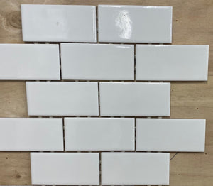 Snow Subway Mosaic Tile Porcelain