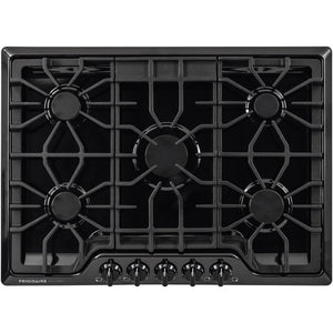 FGGC3047QB Frigidaire Gallery Series 30 Inch Gas Cooktop with LP Conversion Option, Seamless Recessed Burners- Continous Cast Iron with Black Matte Finish