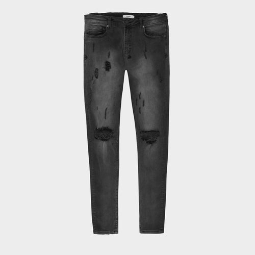 WASHED BLACK DISTRESSED DENIM
