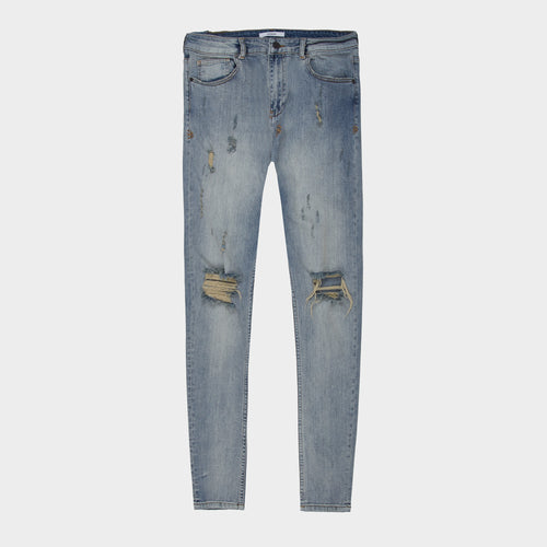 WASHED BLUE DISTRESSED DENIM