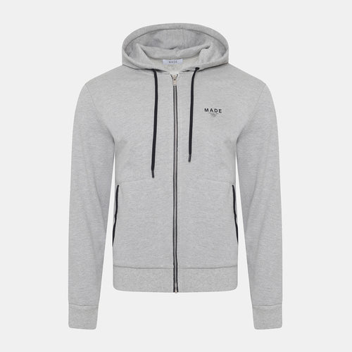 GREY LEATHER DETAILED ZIP HOODIE