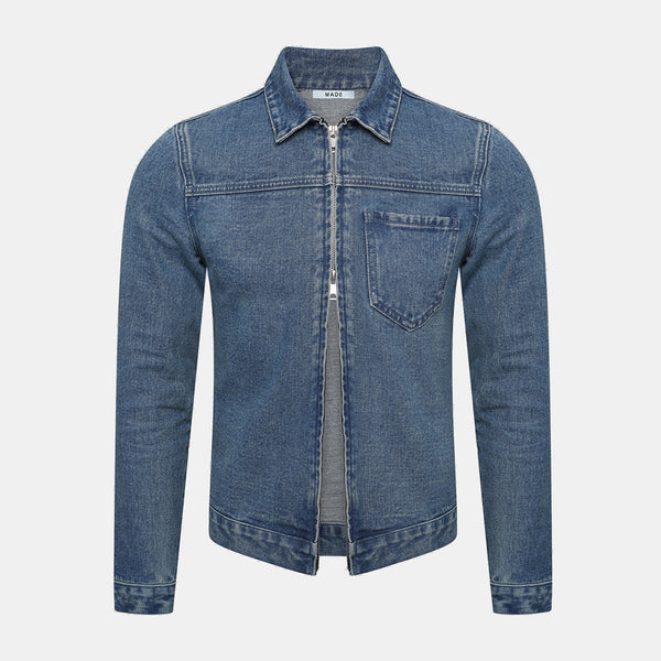 TWO WAY ZIP DENIM JACKET
