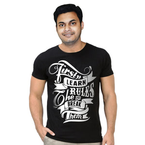 FMstyles First Learn the Rules Black Unisex Tshirt FMS320
