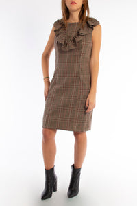 Beige Check Dress With Frills