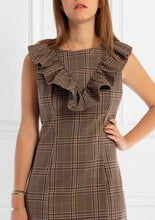 Load image into Gallery viewer, Beige Check Dress With Frills