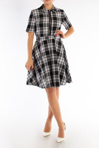Monochrome Check Collar Dress