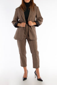 Beige Check Suit Blazer