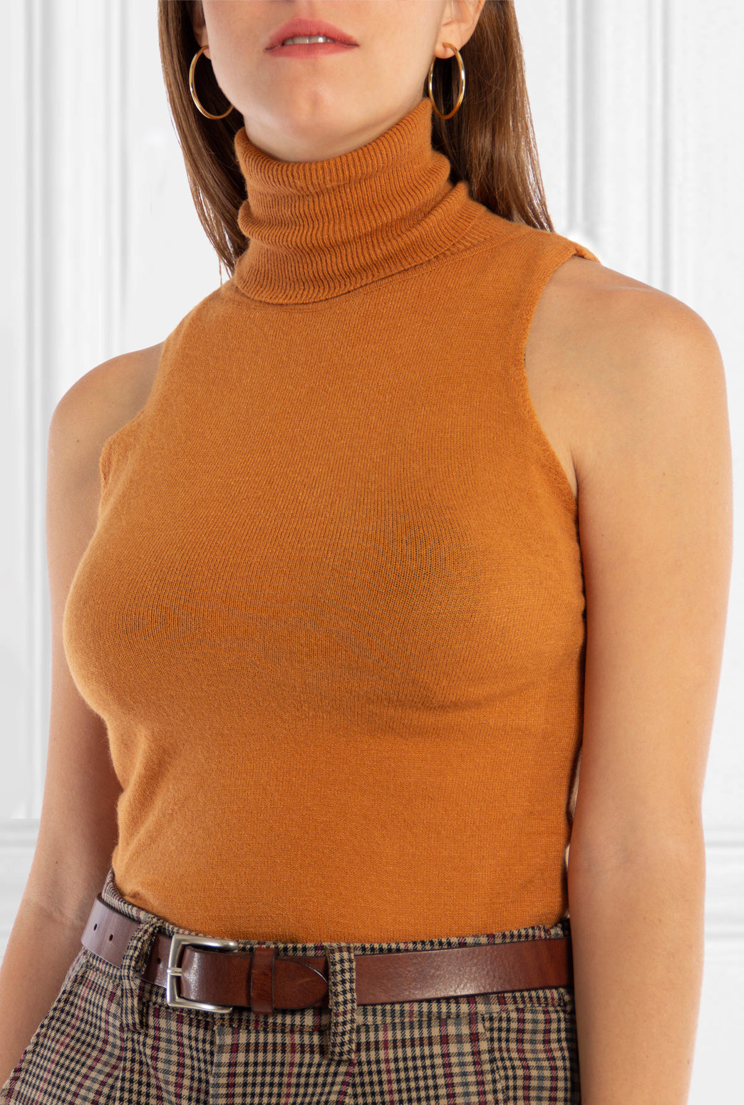 Mustard Sleeveless Turtleneck Top