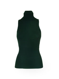 Green Sleeveless Turtleneck Top