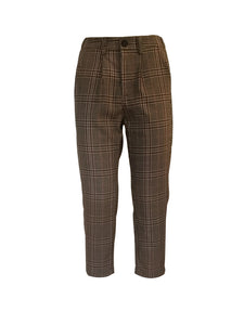 Beige Check Suit Trousers