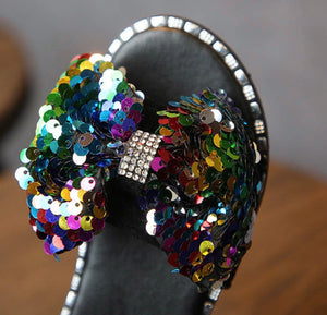 Bowtied Sequin Sandals