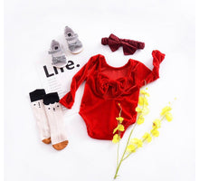 Load image into Gallery viewer, Velvet Bow Romper