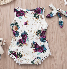 Load image into Gallery viewer, Pom Pom Rose Flower Romper