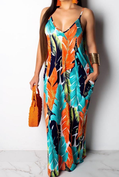 Golden Leaf Maxi Dress