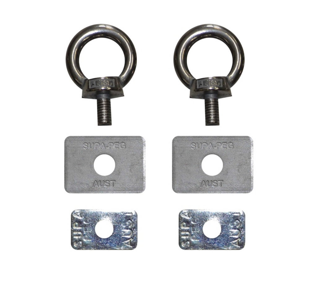 EYE BOLTS S/S FOR ROOF RACKS X 2 - Supa-Peg Australia