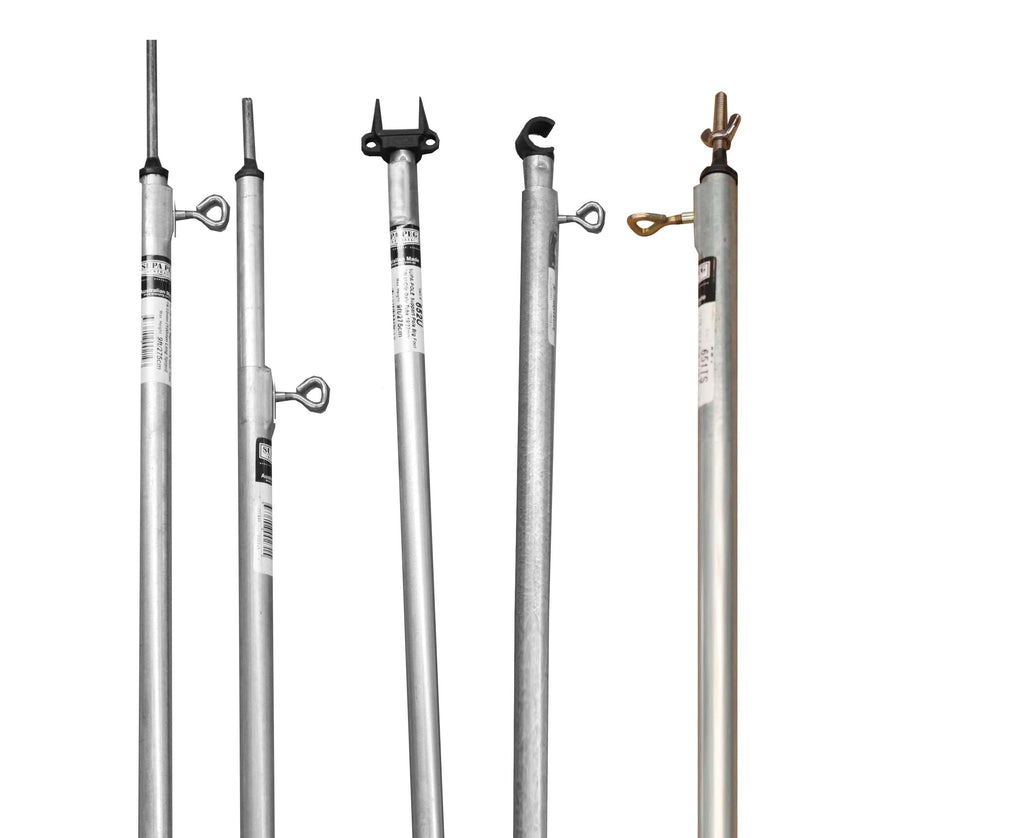 TENT POLE Galvanised | Tube Diameter 22.2 - 25.4mm | Tee nut & Thumbscrew  (Choose Fitting & Length)