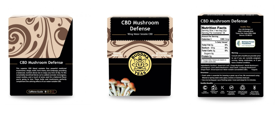 Buddha Teas Mushroom Defense CBD Tea: 90mg