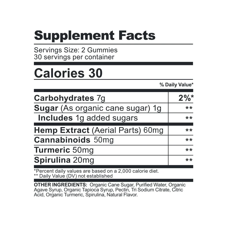 CBDfx Turmeric and Spirulina CBD Gummies Bears: 1500 mg