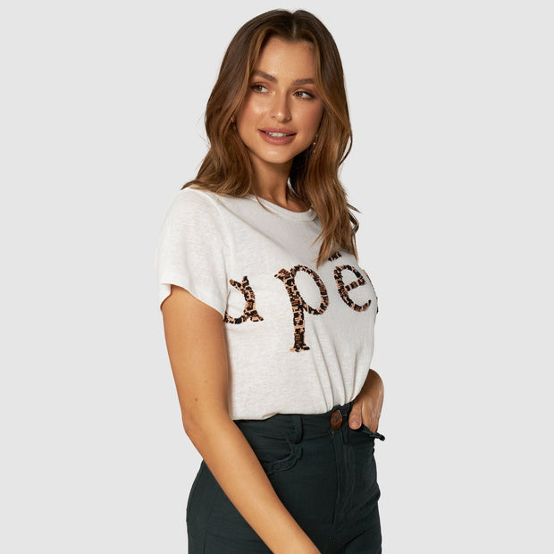 Apéro Roar Beaded Femme Tee - White / Leo Multi