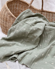 Embroidered Summer Blanket - Botanic