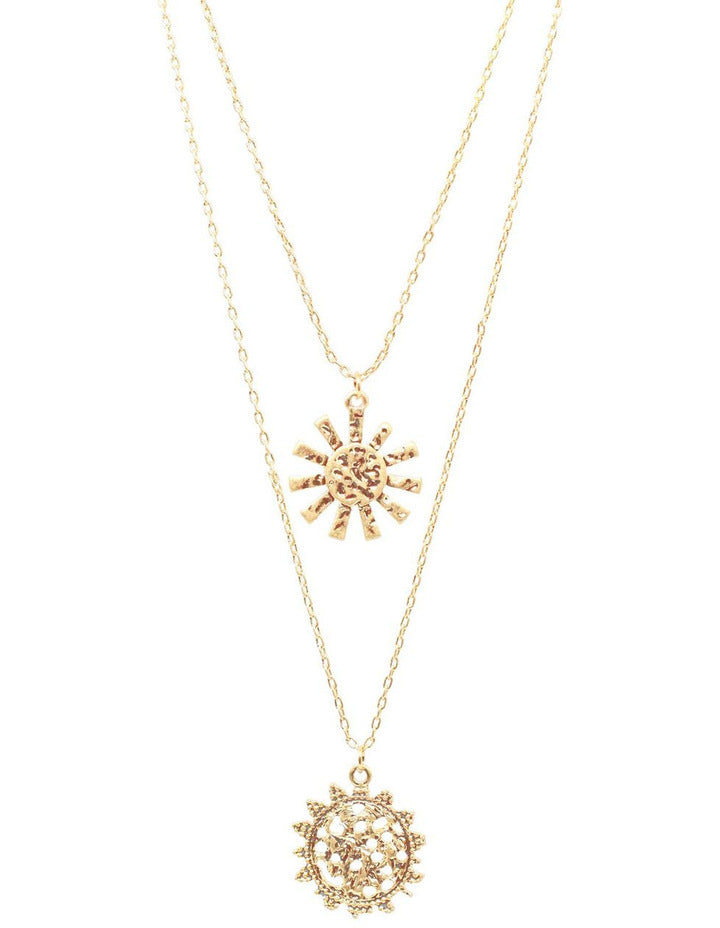 Girasole Double Pendant Necklace - Soft Gold