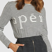 Apéro Marcella Beaded Long Sleeve Top - White/Black Stripe