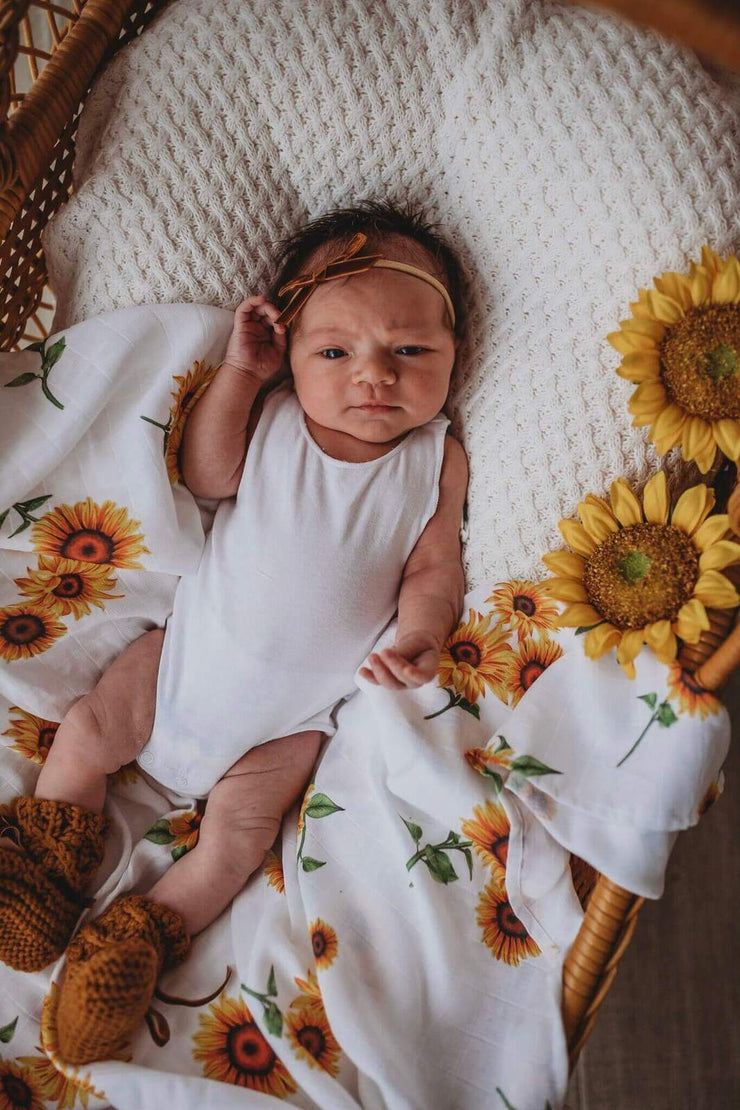 Organic Muslin Wrap - Sunflowers