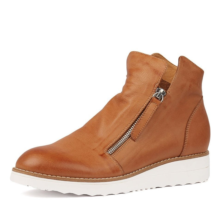 OHMY Leather Boots - Dark Tan