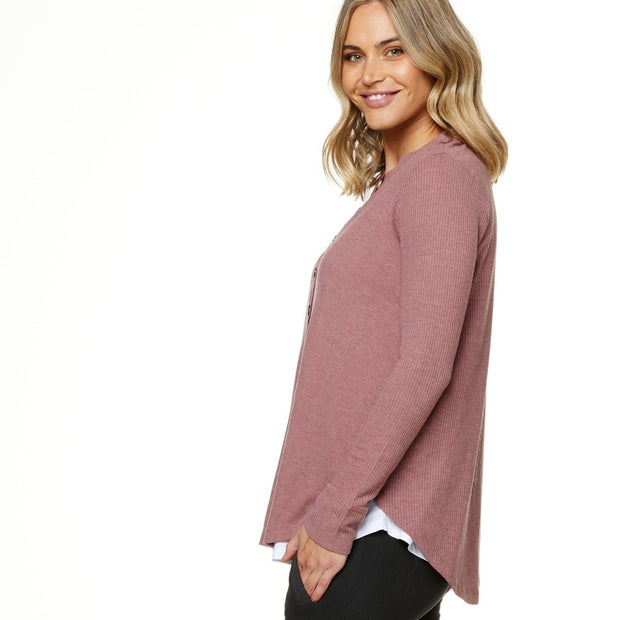On My Mind Button Henley - Pomegranate Pink