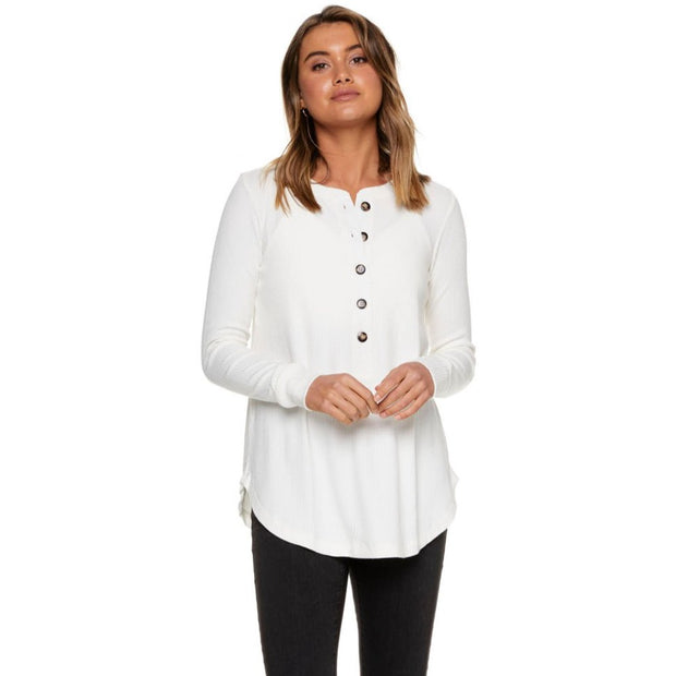 On My Mind Button Henley - Ivory